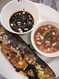 烤鱼用黑辣酱油 库存图片