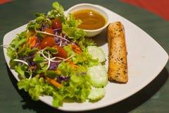 烤鲑鱼排用沙拉 库存照片