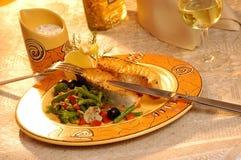 烤鲑鱼排蔬菜 库存照片