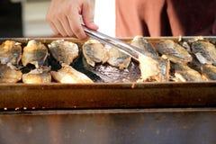 烤鲭鱼& x28; Saba& x29;牛排 库存照片