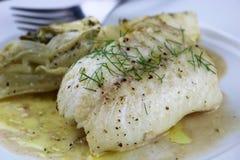 烤鳕鱼用茴香 库存图片
