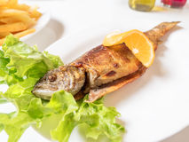 烤鳟鱼用橙色柠檬、沙拉叶子和炸薯条在白色板材 库存图片