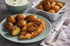 烤鸡内圆角用被烘烤的土豆和大蒜酸奶垂度 库存照片