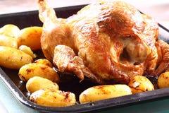 烤鸡和土豆A 免版税库存图片