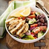 烤鸡和新鲜蔬菜砍了沙拉 免版税图库摄影