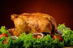烤鸡和菜 免版税图库摄影