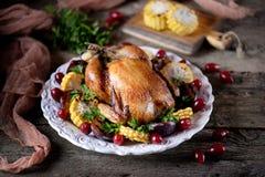 烤鸡在感恩天用玉米、李子、山茱萸和荷兰芹 库存图片