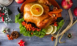 烤鸡或土耳其用蔓越桔和菜一顿欢乐家庭晚餐的 免版税库存图片