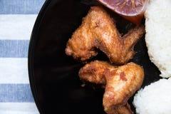 烤鸡翼用黏米饭 免版税库存图片