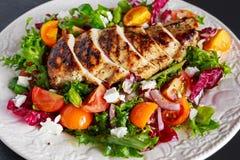 烤鸡胸脯内圆角用新鲜的蕃茄菜沙拉 概念健康食物 库存图片
