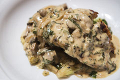 烤鸡胸脯用乳脂状的蘑菇酱油 免版税图库摄影