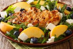 烤鸡胸脯用新鲜的桃子,蓝莓,芝麻菜 库存照片