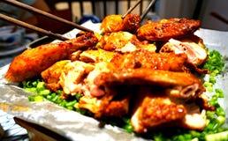 烤鸡A可口中国盘 免版税库存照片