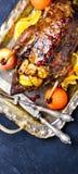 烤鸭和桔子 免版税图库摄影