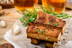 烤黑麦面包用莳萝和两杯啤酒 库存图片