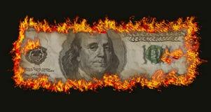 烧一百的钞票老 免版税图库摄影