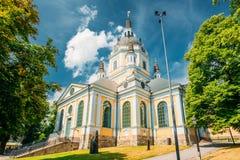 1990年烧了教会重建同样起始时间出发的斯德哥尔摩瑞典年的katarina原来的 库存照片