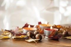 烧五颜六色的蜡烛和干燥秋叶北赤栎和琥珀色的项链特写镜头和橡子  免版税库存图片