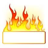 烧伤与空间的火焰火文本的 库存照片