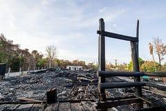 烧伤木头被雕刻的菩萨 免版税库存图片