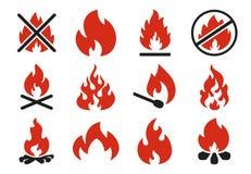 烧伤火象 燃烧的火焰火球剪影或危险篝火 发火焰爆炸平的例证集合 库存例证