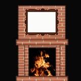 烧在与画框的壁炉的火 免版税库存照片
