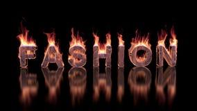 烧在光滑的表面上的火的时尚文本 股票录像