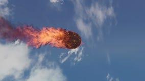 烧在地球` s大气的陨石的动画 皇族释放例证