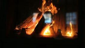 烧在壁炉的木头 股票录像