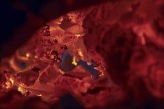 烧在壁炉的炭烬 免版税库存照片