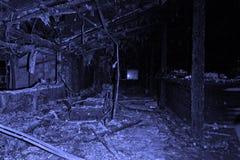 烧在房子下 库存图片