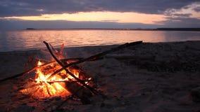 烧在日落的河岸的篝火 股票视频