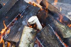 烧在木篝火的三块纸玻璃 免版税库存照片
