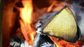烧在火炉,灼烧的木头的声音,火的声音的木头 和平和沉寂 影视素材