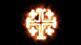 烧在火焰的灼烧的跨的耶路撒冷十字架 向量例证