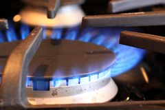 烧在煤气炉的火焰 免版税库存照片