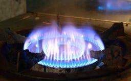 烧在煤气炉 库存照片