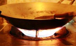 烧在煤气炉 免版税库存图片