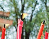 烧在祖先的蜡烛 免版税库存图片