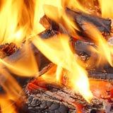 烧在BBQ或在壁炉的木炭 免版税库存图片