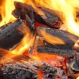 烧在BBQ或在壁炉的木炭 图库摄影