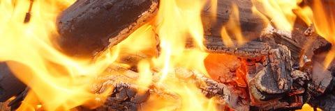 烧在BBQ或在壁炉的木炭 免版税库存照片