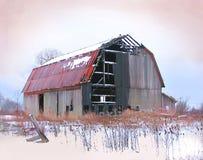 烧坏的谷仓  库存照片