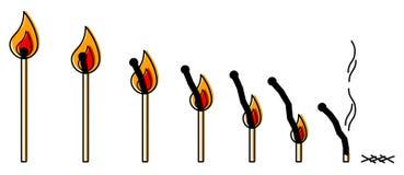 烧毁点燃的火柴行,简单的干净的概念线艺术传染媒介例证 向量例证