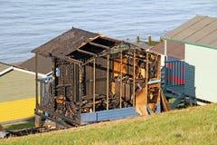 烧毁的被烧的小屋 图库摄影