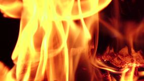 烧注册在黑背景的火 慢动作,特写镜头 影视素材