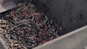 烧煤在金属箱子 火花飞行,被射击的特写镜头 股票录像