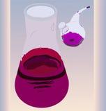 烧瓶和吸管用高锰酸钾的解答 库存照片