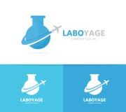 烧瓶和飞机商标组合 实验室和旅行标志或者象 独特的飞行和科学略写法设计 免版税库存照片