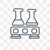 烧瓶在透明背景隔绝的传染媒介象,线性Fl 向量例证